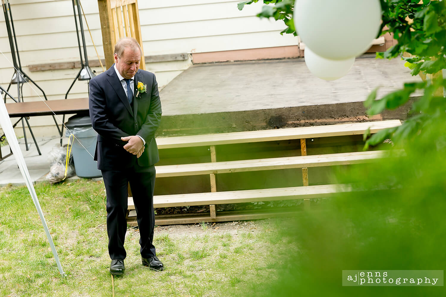 Father of the bride waiting give away his daughter
