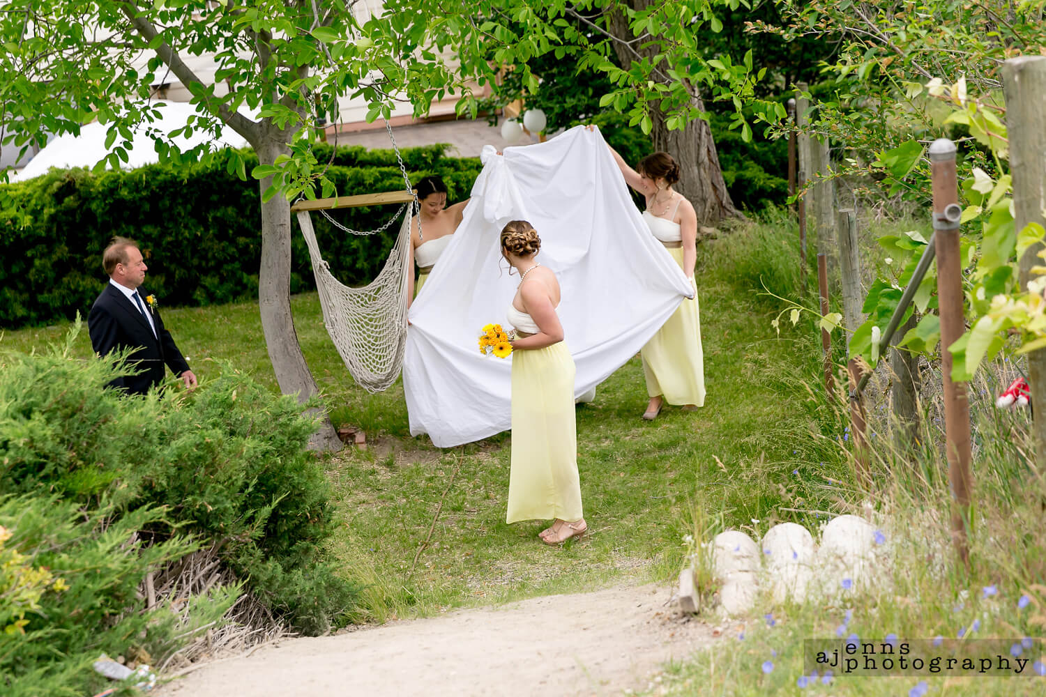 The bridesmaids shielding the bride from letting the groom see her before it's time