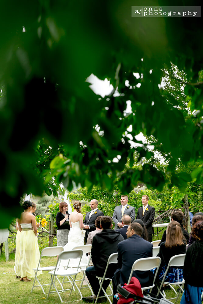 A view of the ceremony from under a tree