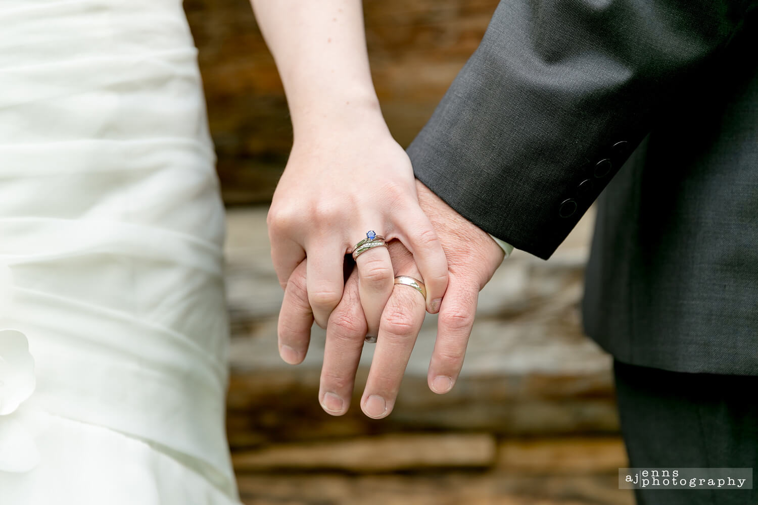 A close up of Bianca and Jeff's wedding rings